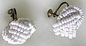 Vintage White Glass Beaded Earrings (Image1)