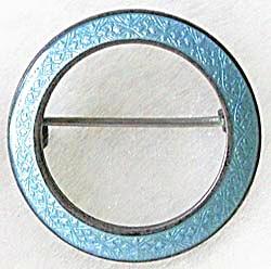 Vintage Aqua Enamel & Sterling Circle Pin (Image1)