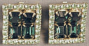 Vintage Square Green Rhinestone Clip Earrings (Image1)