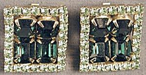 Vintage Square Green Rhinestone Clip Earrings (Image1)