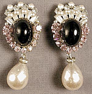 Vintage Drop Pearl and Pink Rhinestone Clip Earrings (Image1)