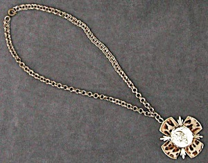 Vintage Faux Leopard and Elizabeth Regina Necklace (Image1)