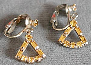 Vintage Triangle  Rhinestone Clip Earrings (Image1)