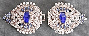 Vintage Cobalt Blue and Clear Rhinestone Belt Buckle (Image1)