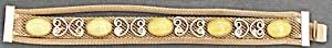 Vintage Gold Tone Metal Mesh Bracelet & Yellow Stones (Image1)