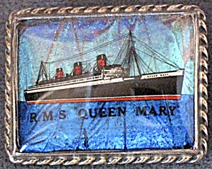 Vintage R.m.s.queen Mary Souvenir Sterling Pin