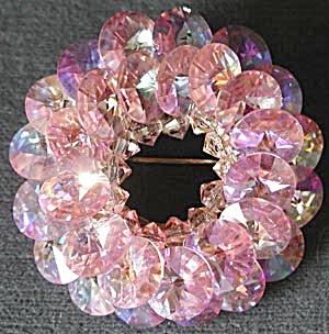 Vintage Pink Aurora Borealis Crystal Pin (Image1)