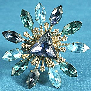 Vintage Large Blue & Green Brooch (Image1)