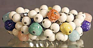 Vintage Multicolor Glass Beaded Stretch Bracelet (Image1)