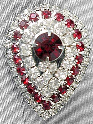 Vintage Red & Clear Rhinestone Tear Drop Pin (Image1)
