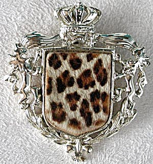 Faux Leopard Fur Pin with Crown (Image1)