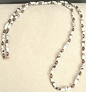 Vintage Glass White and Purple Necklace (Image1)