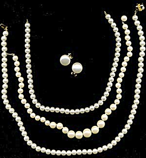 Vintage Faux Pearl Necklaces & Earrings (Image1)