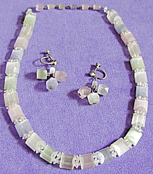 Vintage Satin Glass Necklace Demi-Parure (Image1)