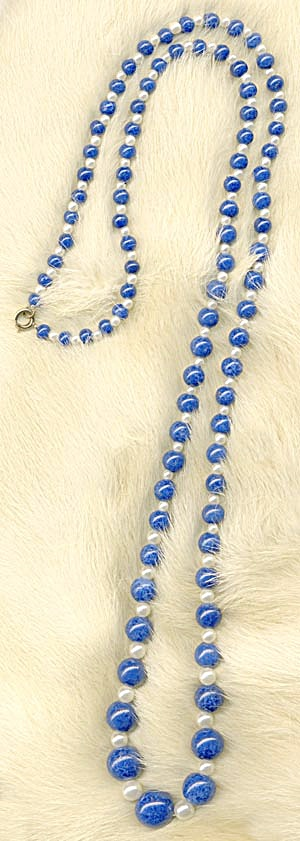 Blue and White Faux Pearl Necklace (Image1)