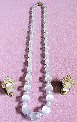 Vintage Blue Satin Glass Necklace Demi-Parure (Image1)