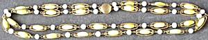 Vintage 2 Strand Glass Yellow & White Necklace (Image1)