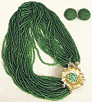 Vintage Green Glass Beaded Demi Parure (Image1)
