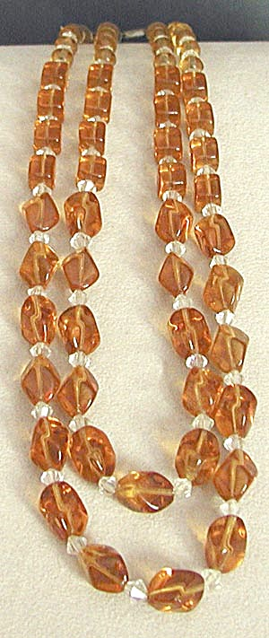 Vintage Amber Glass and Crystal Necklace (Image1)