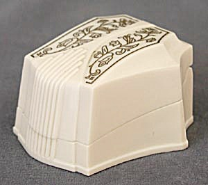 Vintage Ivory Colored Gold Embossed Ring Box