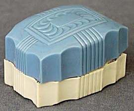 Vintage Blue & Cream Celluloid Ring Box