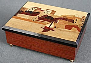 Vintage Wood Inlay Music Jewel Box (Image1)
