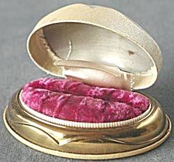 Vintage Pearlized Faux Leather Ring Box