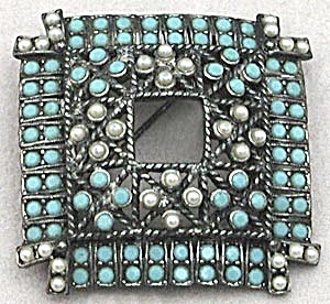 Vintage Square Pin Set with Faux Pearls and Turquise (Image1)