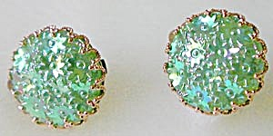 Vintage Western Germany Floral Glass Earrings (Image1)