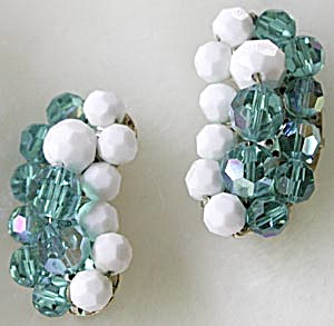 Vintage Turquoise and White Crystal Earrings (Image1)