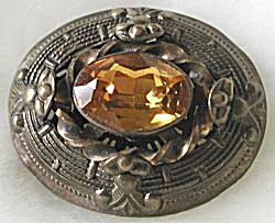 Vintage Brass and Topaz Color Stone Brooch (Image1)