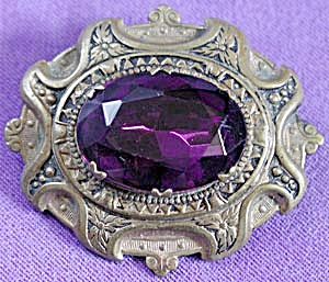 Vintage Brass and Amethyst Color Stone Brooch (Image1)