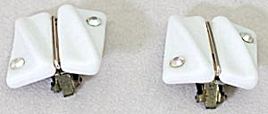 Vintage White Glass & Rhinestone West Germany Earrings (Image1)