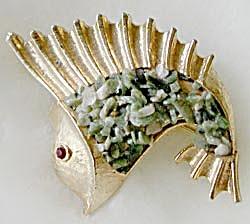 Vintage BSK Flying Fish Pin (Image1)