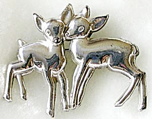 Vintage Sterling Twin Fawns Pin