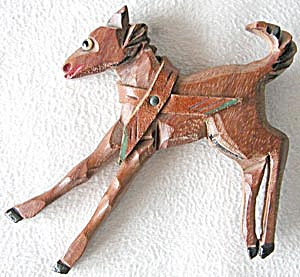 Vintage Wooden Galloping Horse Pin