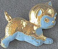 Vintage Blue And Gold Cat Pin
