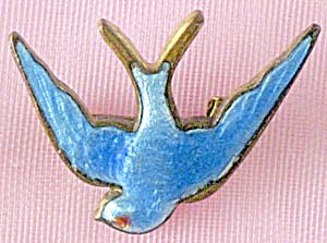 Vintage Enamel Bluebird Swallow Pin