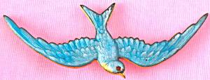 Vintage Guilloche Enamel Bluebird Pin (Image1)
