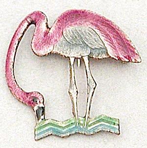 Vintage Enamel Flamingo Pin (Image1)