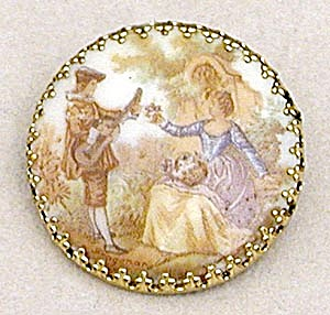 Vintage German Porcelain Pin (Image1)