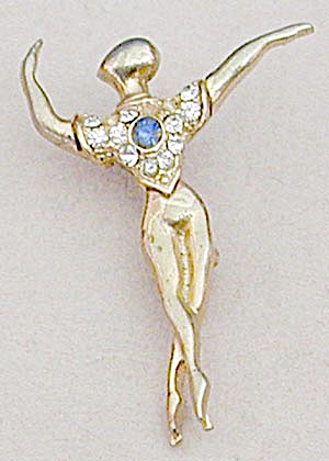 Vintage Goldtone Male Ballet Dancer Pin (Image1)
