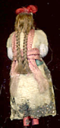 Vintage Fabric and Hair Back of Girl Pin (Image1)