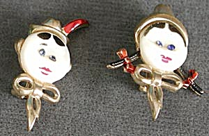 Vintage Tiny Boy & Girl Face Pins (Image1)