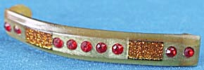Vintage Celluloid Hair Barrette With Red Stones