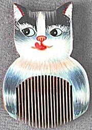 Hand Painted Wooden Mini Cat Comb