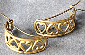 Vintage Metal Heart Curved Barrettes Pair (Image1)
