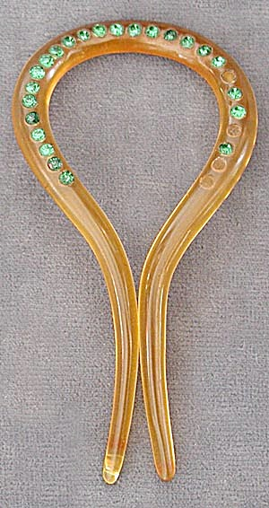 1930's Art Deco Celluloid Rhinestone Hair Comb