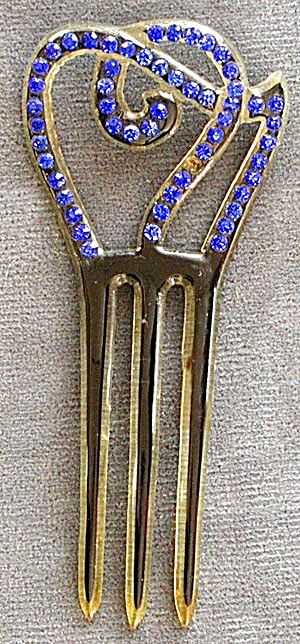Vintage Celluloid Blue Rhinestone Hair Comb