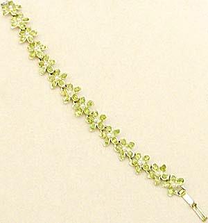 Vintage Lime Green & Pearl Flower Bracelet (Image1)